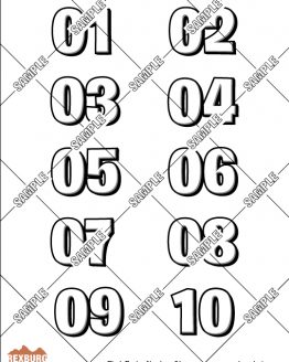 Block Racing Numbers Decal Sample Set