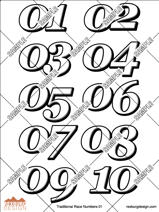 Traditional Racing Numbers Decal Sample Set