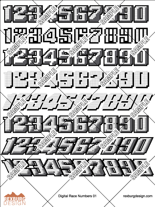 Digital Racing Numbers Decal Sample Set