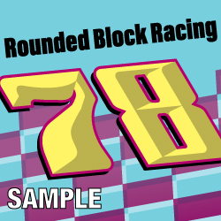 Rounded Block Racing Numbers Decal Sample Set